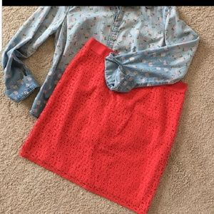 Coral Mod Lace Skirt